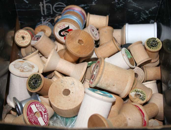 Vintage wooden spools.