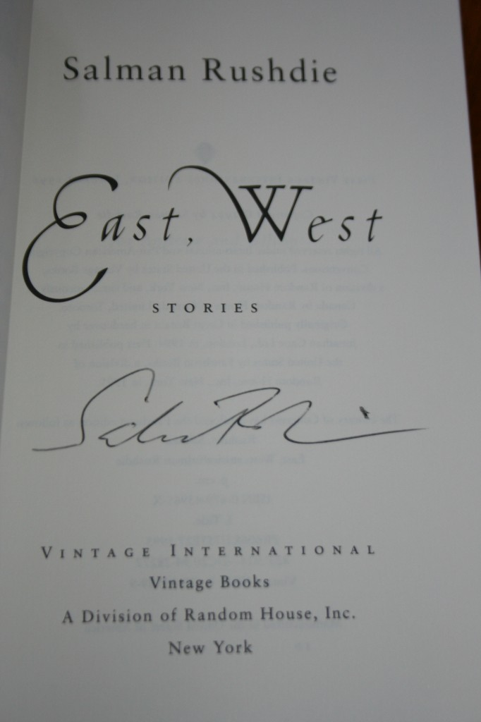 Salman Rushdie signed copy of East, West.