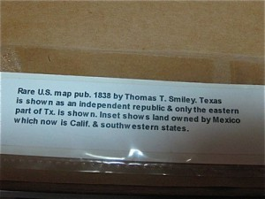 old texas colored map tag info-S